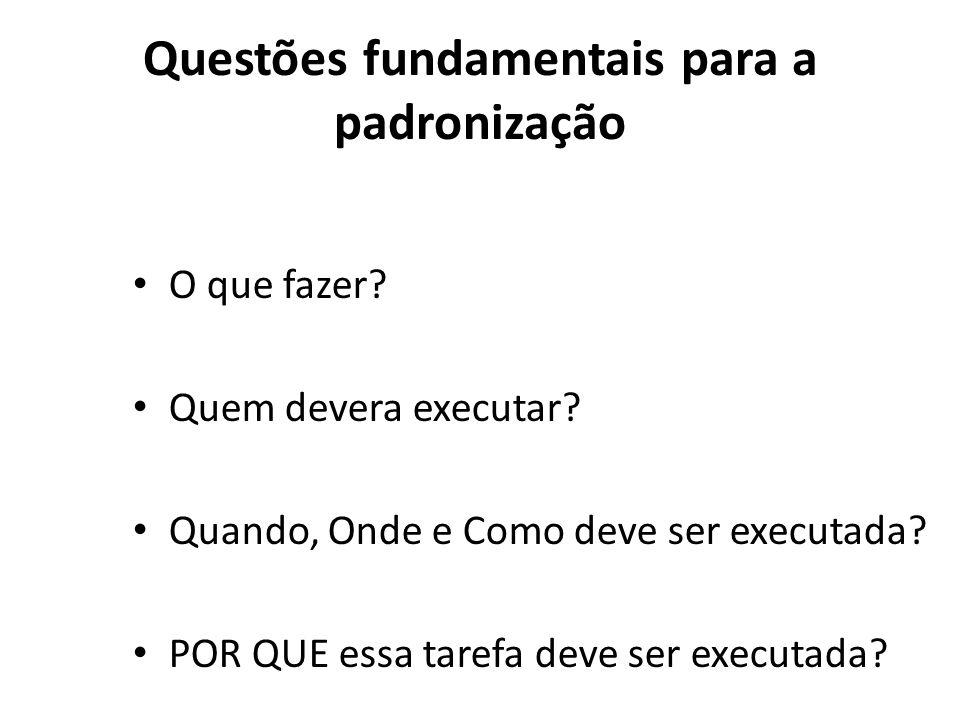 Questões fundamentais para a padronização O que fazer? Quem devera executar? Quando, Onde e Como deve ser executada? POR QUE essa tarefa deve ser exec