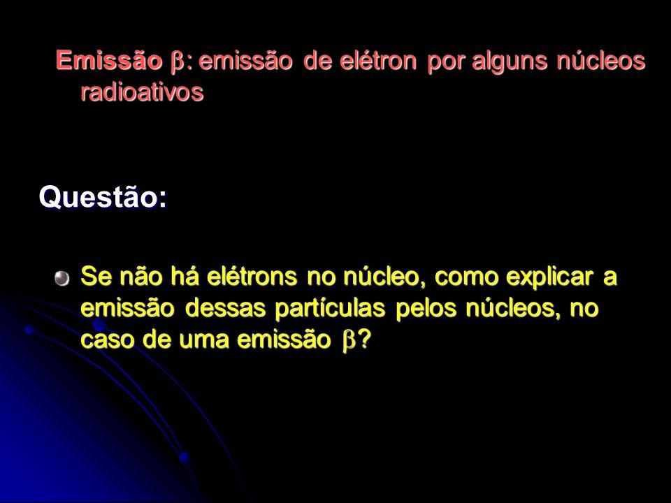 Se não há elétrons no núcleo, como explicar a emissão dessas partículas pelos núcleos, no caso de uma emissão ? Questão: Emissão : emissão de elétron