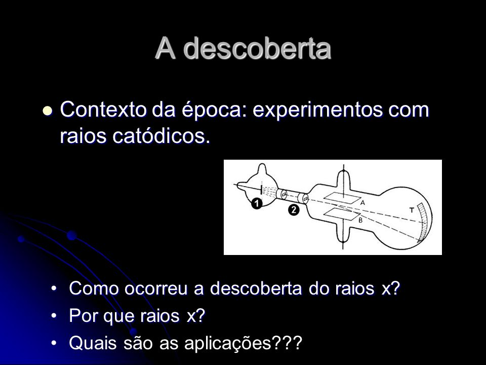 A descoberta Contexto da época: experimentos com raios catódicos. Contexto da época: experimentos com raios catódicos. Como ocorreu a descoberta do ra