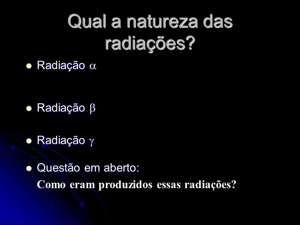 Qual a natureza das radiações? Radiação Radiação Questão em aberto: Questão em aberto: Como eram produzidos essas radiações?