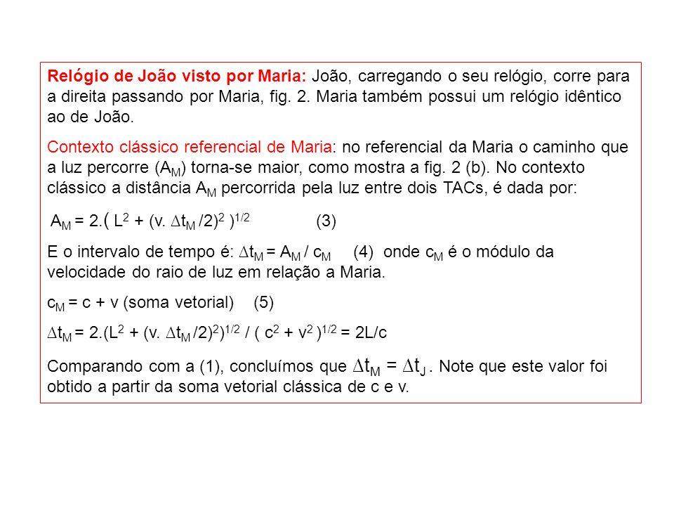No contexto relativístico: A distância percorrida pela luz é calculada como no caso clássico: a M = 2.