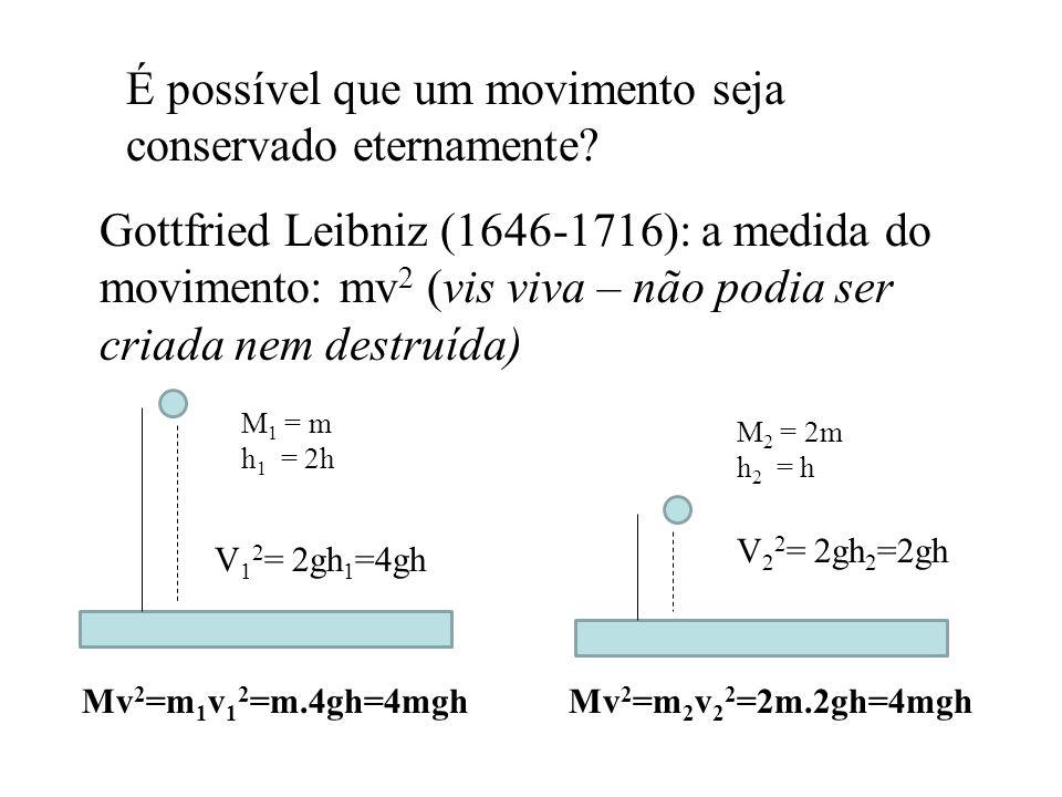 É possível que um movimento seja conservado eternamente? Gottfried Leibniz (1646-1716): a medida do movimento: mv 2 (vis viva – não podia ser criada n