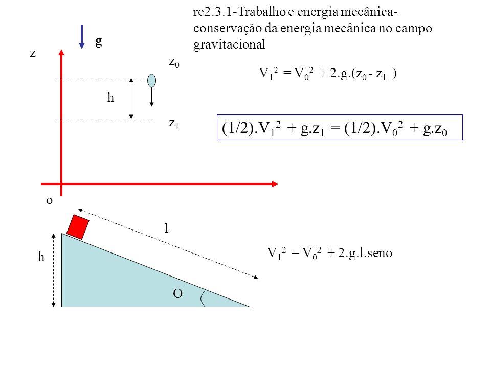 re2.3.1-Trabalho e energia mecânica- conservação da energia mecânica no campo gravitacional z o z0z0 z1z1 h g V 1 2 = V 0 2 + 2.g.(z 0 - z 1 ) Ө h V 1
