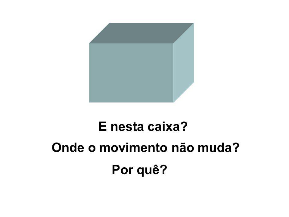 E nesta caixa? Por quê? Onde o movimento não muda?