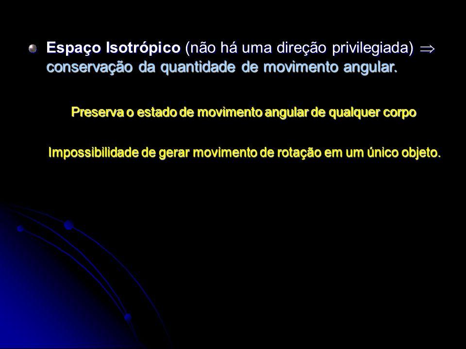 Espaço Isotrópico (não há uma direção privilegiada) conservação da quantidade de movimento angular. Preserva o estado de movimento angular de qualquer