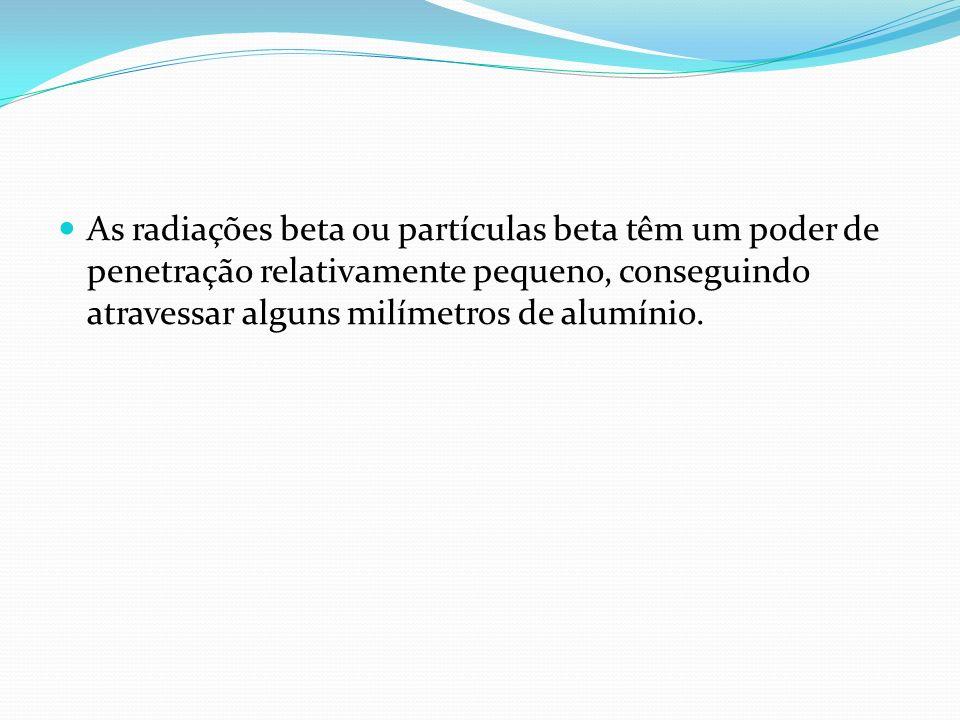 As radiações beta ou partículas beta têm um poder de penetração relativamente pequeno, conseguindo atravessar alguns milímetros de alumínio.
