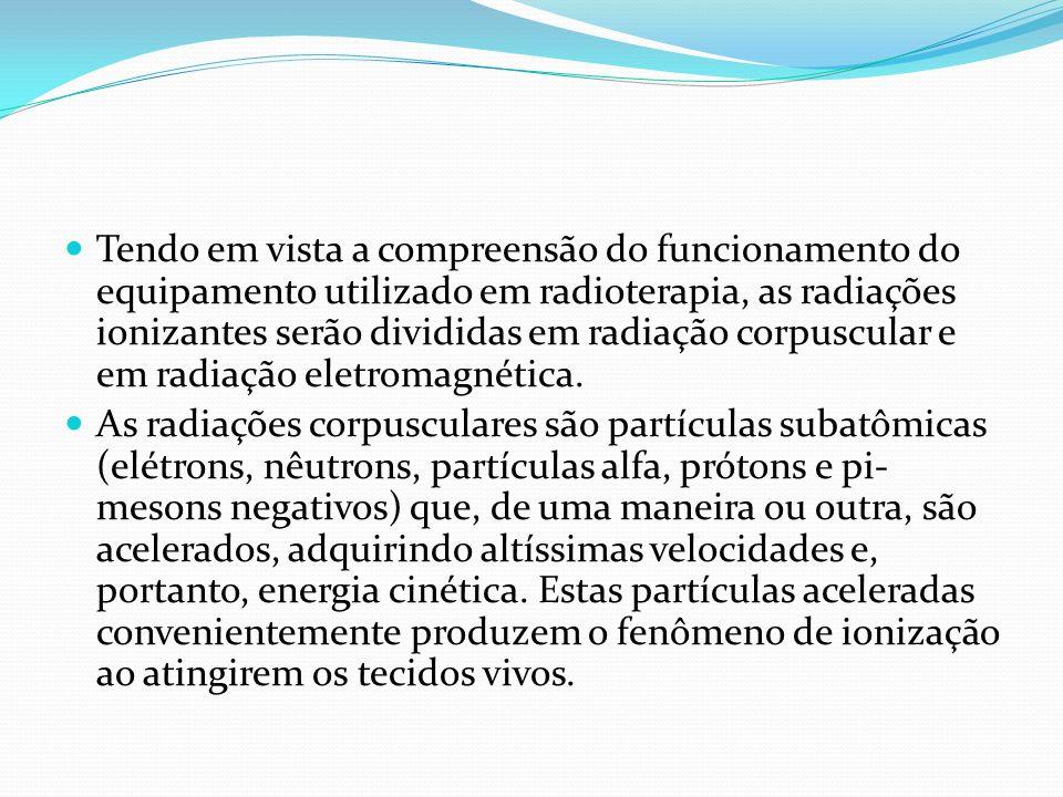 Tendo em vista a compreensão do funcionamento do equipamento utilizado em radioterapia, as radiações ionizantes serão divididas em radiação corpuscula