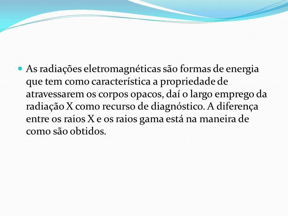 As radiações eletromagnéticas são formas de energia que tem como característica a propriedade de atravessarem os corpos opacos, daí o largo emprego da