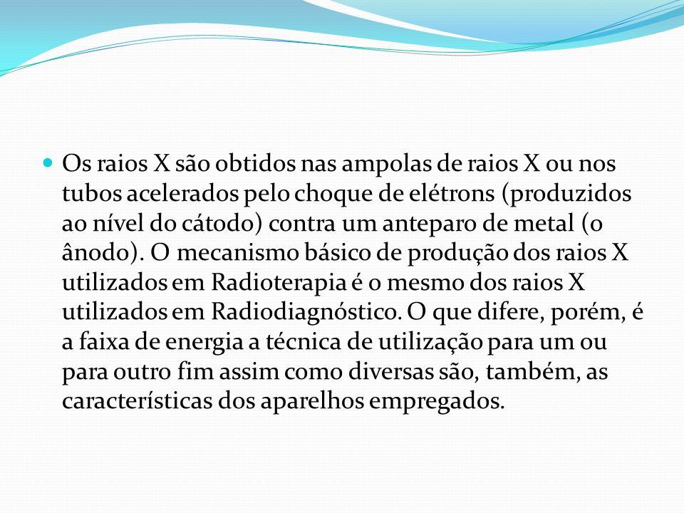 Os raios X são obtidos nas ampolas de raios X ou nos tubos acelerados pelo choque de elétrons (produzidos ao nível do cátodo) contra um anteparo de me
