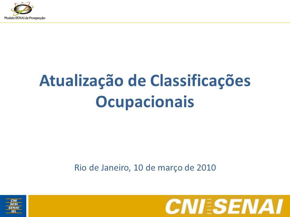 Objetivos Verificar procedimentos e critérios utilizados por outros países e instituições na atualização de classificações ocupacionais Mostrar evidências da necessidade de atualização da Classificação Brasileira de Ocupações Considerações finais