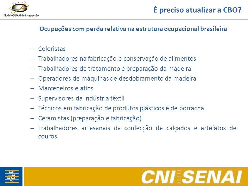 É preciso atualizar a CBO? Ocupações com perda relativa na estrutura ocupacional brasileira – Coloristas – Trabalhadores na fabricação e conservação d