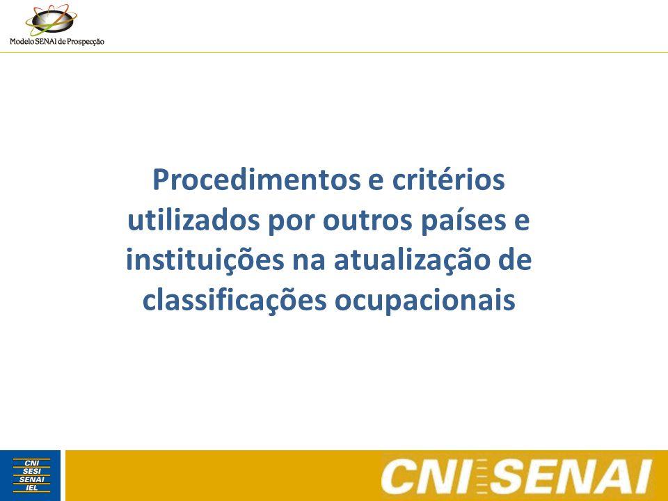 Standard Occupational Classification (SOC) EUA O Standard Occupational Classification Policy Committee (SOCPC) planeja atualizações a cada 10 anos.