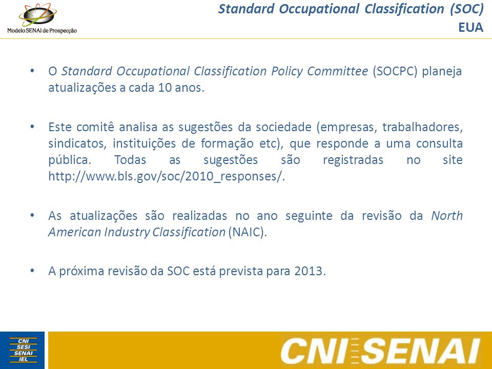 National Occupational Classification (NOC) Canadá A NOC é atualizada em parceria com o Departamento de Estatística do Canadá a cada 5 anos, seguindo o ciclo do Censo canadense.