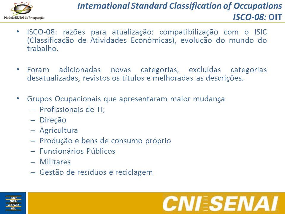 International Standard Classification of Occupations ISCO-08: OIT ISCO-08: razões para atualização: compatibilização com o ISIC (Classificação de Ativ