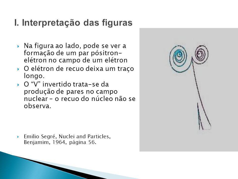 Na figura ao lado, pode se ver a formação de um par pósitron- elétron no campo de um elétron O elétron de recuo deixa um traço longo. O V invertido tr