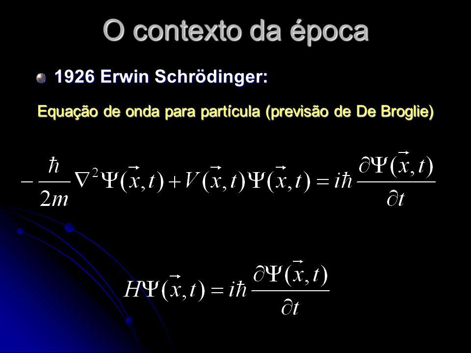 O contexto da época 1926 Erwin Schrödinger: Equação de onda para partícula (previsão de De Broglie)