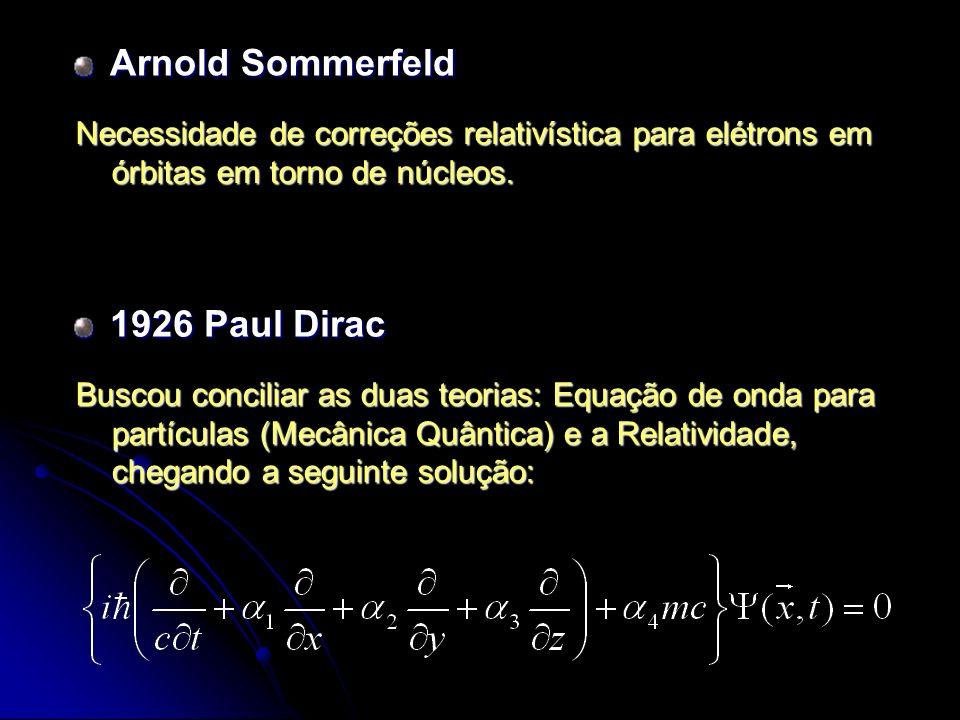 Arnold Sommerfeld Necessidade de correções relativística para elétrons em órbitas em torno de núcleos. 1926 Paul Dirac Buscou conciliar as duas teoria