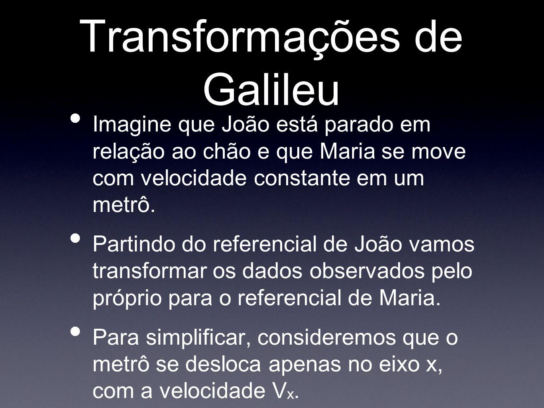 Transformações de Galileu Imagine que João está parado em relação ao chão e que Maria se move com velocidade constante em um metrô. Partindo do refere