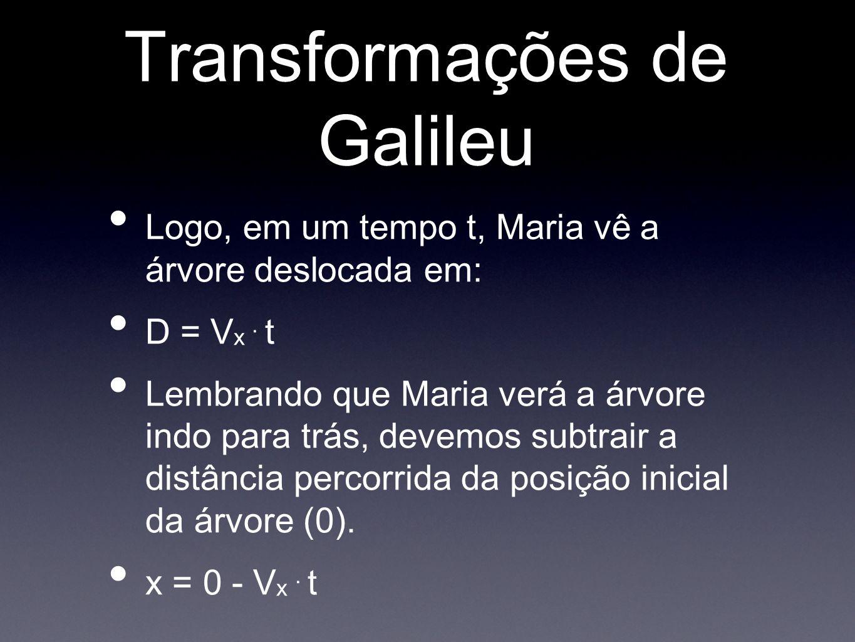 Transformações de Galileu Logo, em um tempo t, Maria vê a árvore deslocada em: D = V x. t Lembrando que Maria verá a árvore indo para trás, devemos su