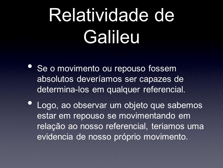 Relatividade de Galileu Se o movimento ou repouso fossem absolutos deveríamos ser capazes de determina-los em qualquer referencial. Logo, ao observar