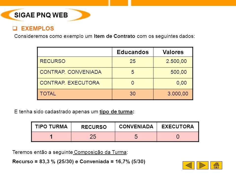 Consideremos como exemplo um Item de Contrato com os seguintes dados: E tenha sido cadastrado apenas um tipo de turma: SIGAE PNQ WEB EducandosValores RECURSO25 2.500,00 CONTRAP.