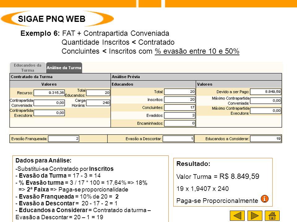 SIGAE / SIGAE PNQ Exemplo 6: FAT + Contrapartida Conveniada Quantidade Inscritos < Contratado Concluintes < Inscritos com % evasão entre 10 e 50% Resultado: Valor Turma = R$ 8.849,59 19 x 1,9407 x 240 Paga-se Proporcionalmente Dados para Análise: -Substitui-se Contratado por Inscritos - Evasão da Turma = 17 - 3 = 14 - % Evasão turma = 3 / 17 * 100 = 17,64% => 18% => 2ª Faixa => Paga-se proporcionalidade - Evasão Franqueada = 10% de 20 = 2 - Evasão a Descontar = 20 - 17 - 2 = 1 - Educandos a Considerar = Contratado da turma – Evasão a Descontar = 20 – 1 = 19 iiii SIGAE PNQ WEB