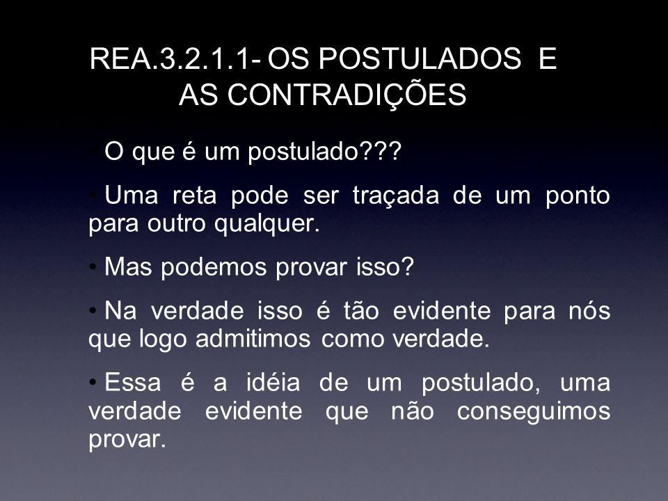 REA.3.2.1.1- OS POSTULADOS E AS CONTRADIÇÕES O que é um postulado??? Uma reta pode ser traçada de um ponto para outro qualquer. Mas podemos provar iss