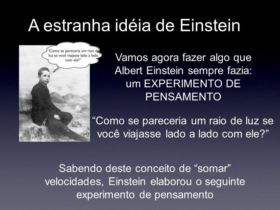 A estranha idéia de Einstein Vamos agora fazer algo que Albert Einstein sempre fazia: um EXPERIMENTO DE PENSAMENTO Sabendo deste conceito de somar vel