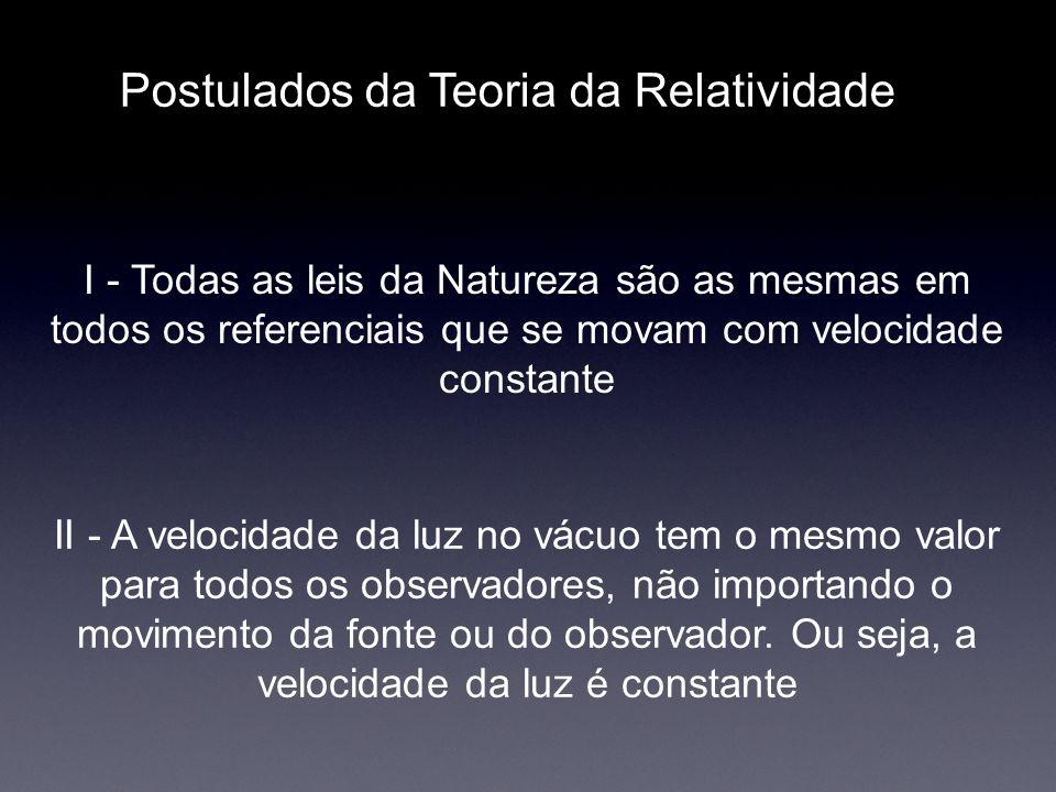 Postulados da Teoria da Relatividade I - Todas as leis da Natureza são as mesmas em todos os referenciais que se movam com velocidade constante II - A