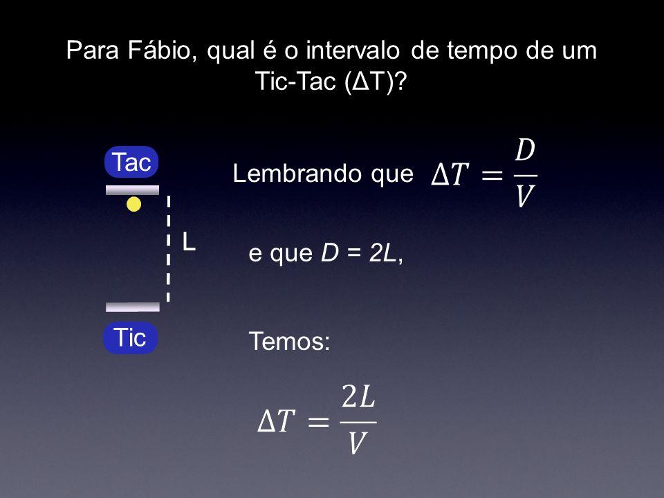 Para Fábio, qual é o intervalo de tempo de um Tic-Tac (ΔT)? Lembrando que e que D = 2L, Tic LL Tac Temos: