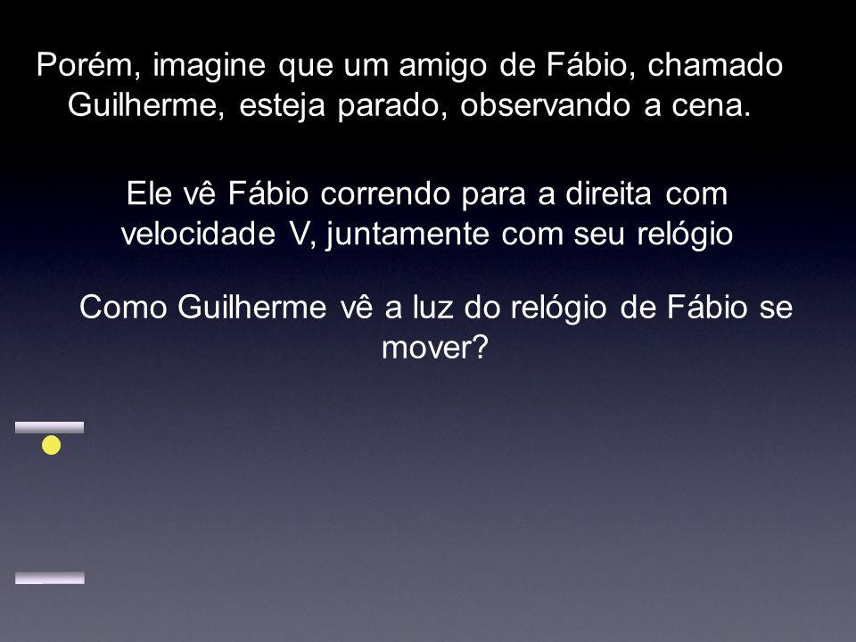 Porém, imagine que um amigo de Fábio, chamado Guilherme, esteja parado, observando a cena. Ele vê Fábio correndo para a direita com velocidade V, junt