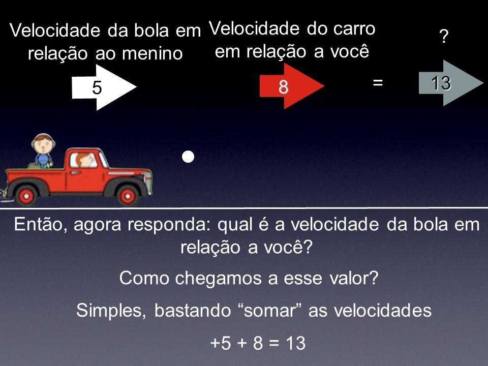 13 = ? Então, agora responda: qual é a velocidade da bola em relação a você? Como chegamos a esse valor? Simples, bastando somar as velocidades +5 + 8