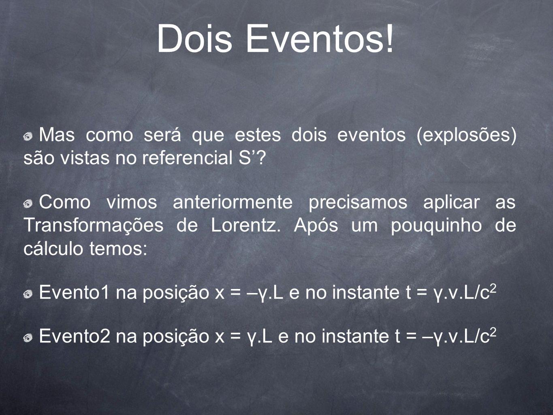 Dois Eventos! Mas como será que estes dois eventos (explosões) são vistas no referencial S? Como vimos anteriormente precisamos aplicar as Transformaç
