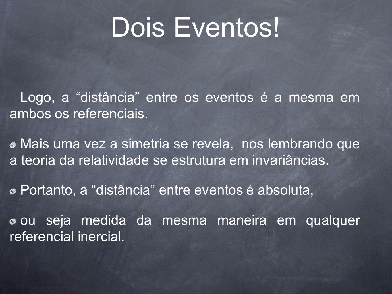 Dois Eventos! Logo, a distância entre os eventos é a mesma em ambos os referenciais. Mais uma vez a simetria se revela, nos lembrando que a teoria da
