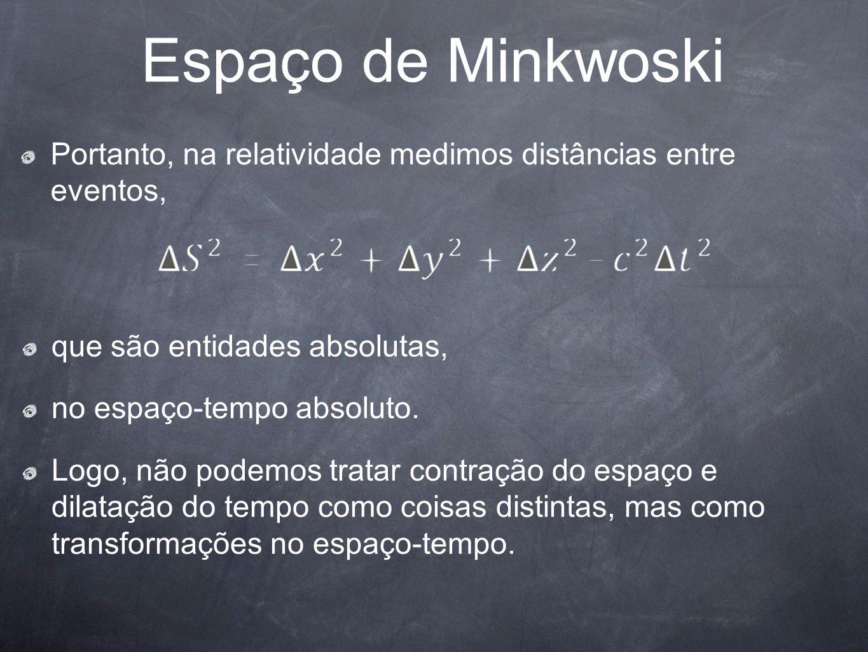 Espaço de Minkwoski Portanto, na relatividade medimos distâncias entre eventos, que são entidades absolutas, no espaço-tempo absoluto. Logo, não podem