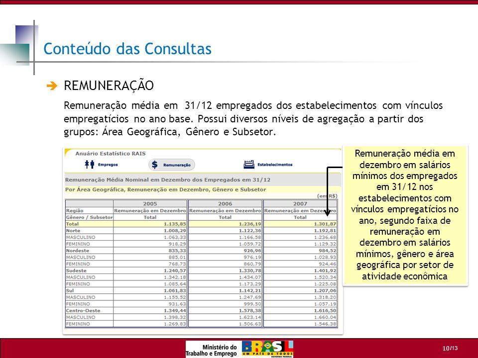 /13 11 Quantidade, por faixa de tamanho, de Empregados declarados na RAIS Estabelecimentos que apresentaram algum empregado em 31/12 ou que tiveram alguma admissão ou desligamento ao longo do ano.
