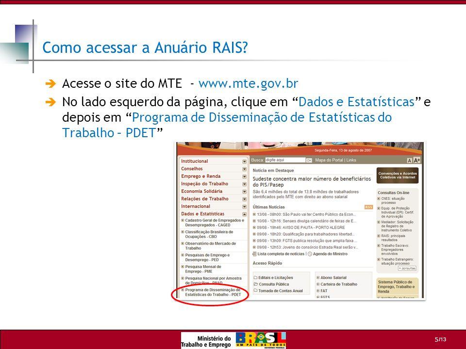 /13 6 Como acessar a Anuário RAIS.