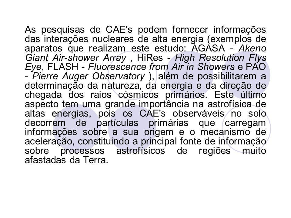 As pesquisas de CAE's podem fornecer informações das interações nucleares de alta energia (exemplos de aparatos que realizam este estudo: AGASA - Aken