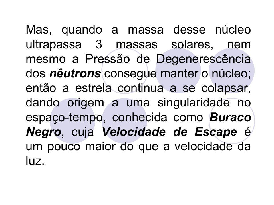 Mas, quando a massa desse núcleo ultrapassa 3 massas solares, nem mesmo a Pressão de Degenerescência dos nêutrons consegue manter o núcleo; então a es