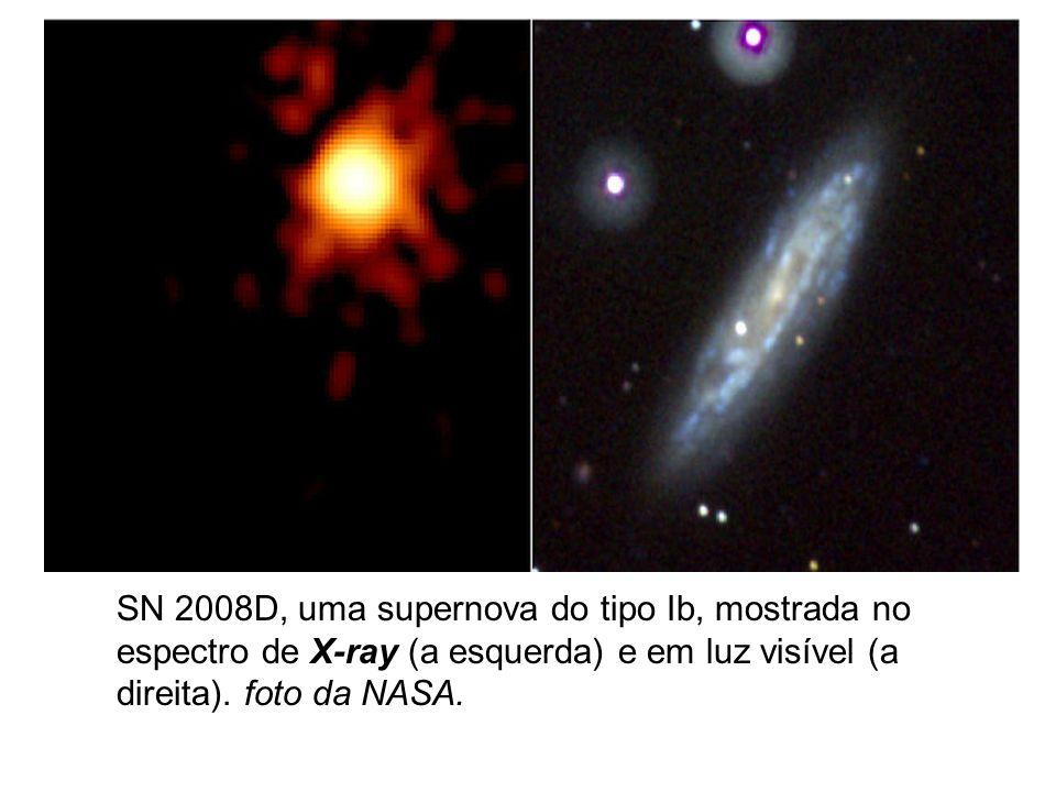 SN 2008D, uma supernova do tipo Ib, mostrada no espectro de X-ray (a esquerda) e em luz visível (a direita). foto da NASA.