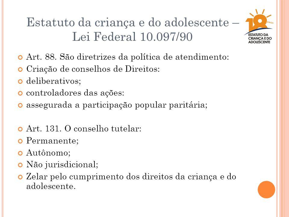 Estatuto da criança e do adolescente – Lei Federal 10.097/90 Art. 88. São diretrizes da política de atendimento: Criação de conselhos de Direitos: del