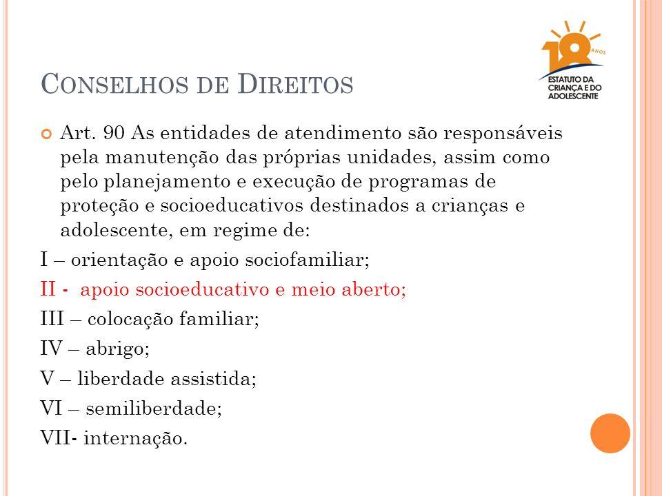 C ONSELHOS DE D IREITOS Art. 90 As entidades de atendimento são responsáveis pela manutenção das próprias unidades, assim como pelo planejamento e exe