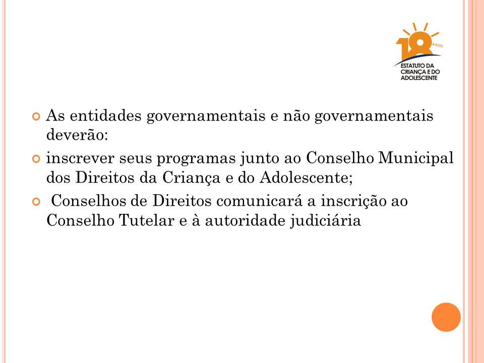 As entidades governamentais e não governamentais deverão: inscrever seus programas junto ao Conselho Municipal dos Direitos da Criança e do Adolescent