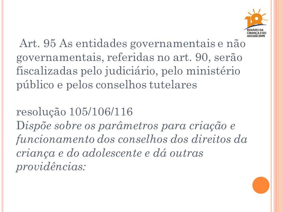 Art. 95 As entidades governamentais e não governamentais, referidas no art. 90, serão fiscalizadas pelo judiciário, pelo ministério público e pelos co