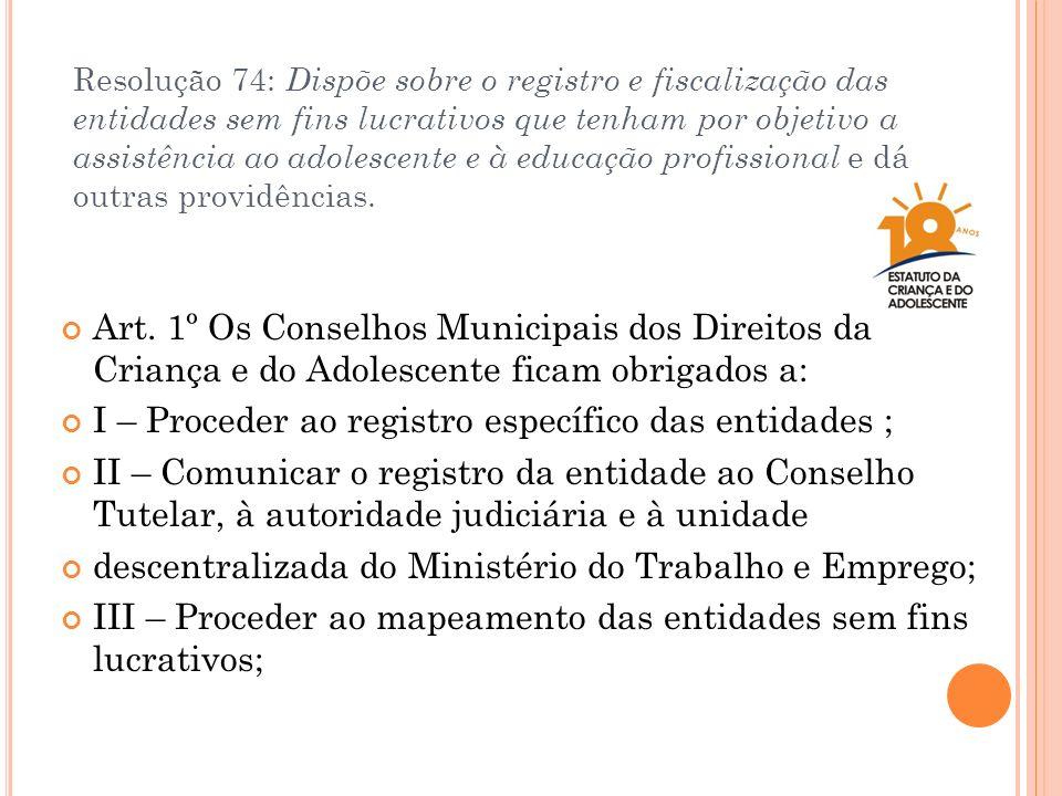 Resolução 74: Dispõe sobre o registro e fiscalização das entidades sem fins lucrativos que tenham por objetivo a assistência ao adolescente e à educaç