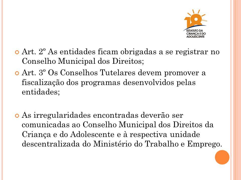 Art. 2º As entidades ficam obrigadas a se registrar no Conselho Municipal dos Direitos; Art. 3º Os Conselhos Tutelares devem promover a fiscalização d