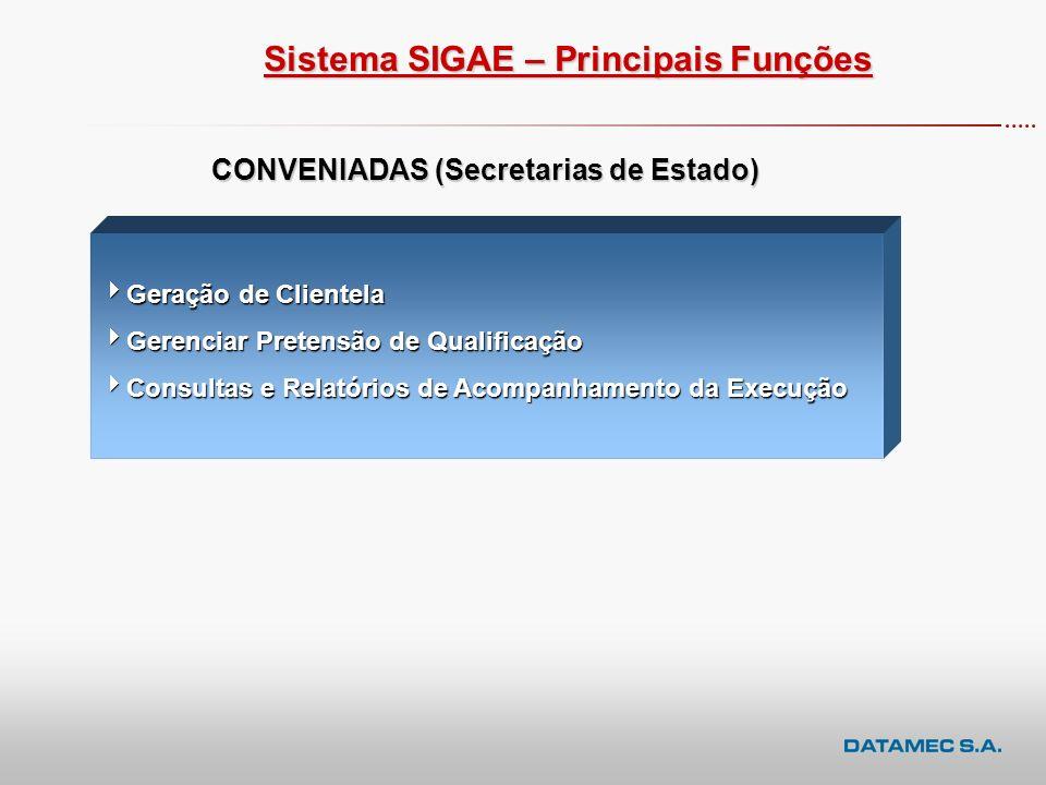 Sistema SIGAE Executora – Principais Funções Instituições Executoras Cadastro da Programação de Turmas Cadastro da Programação de Turmas Cadastro dos