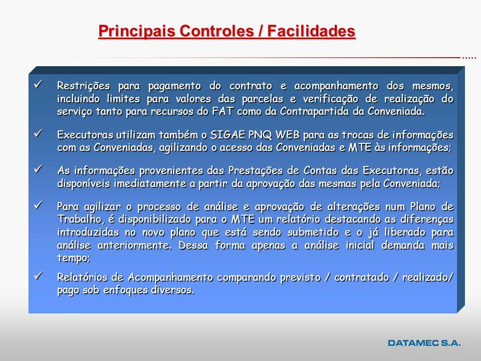 Principais Controles / Facilidades Valor a Pagar é padronizado segundo critério estipulado pelo DEQ/MTE, não permitindo a utilização de recursos do PN