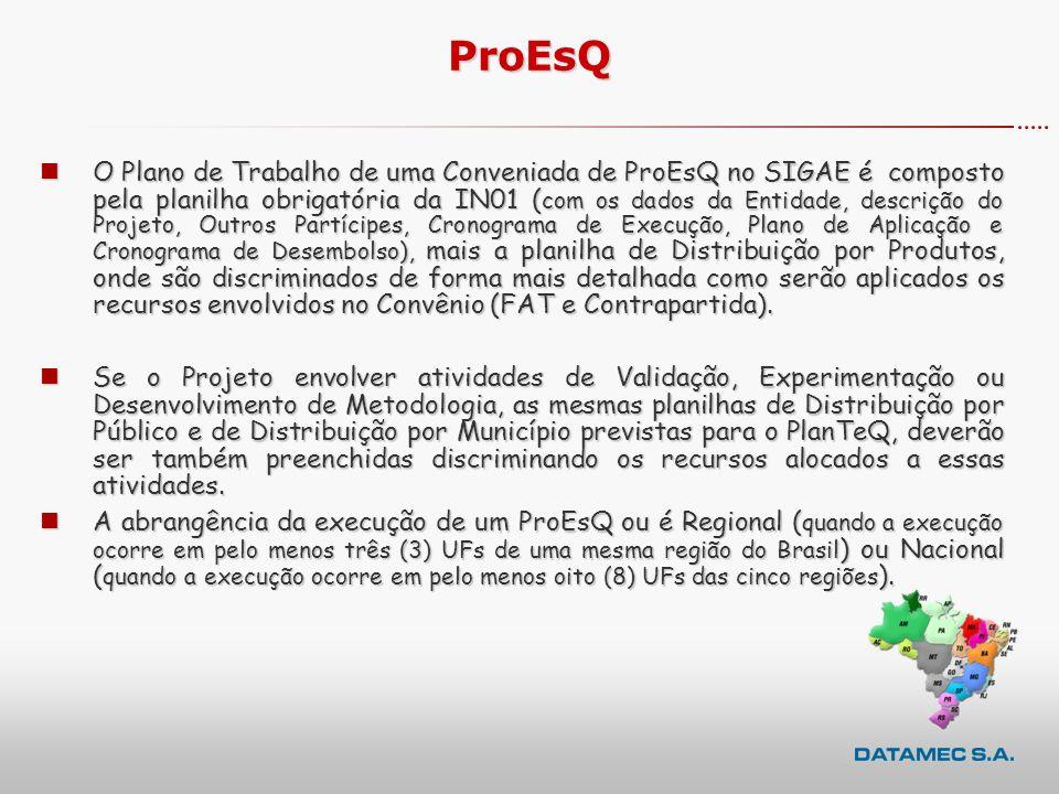 ProEsQ nO Plano de Trabalho de uma Conveniada de ProEsQ no SIGAE é composto pela planilha obrigatória da IN01 ( com os dados da Entidade, descrição do Projeto, Outros Partícipes, Cronograma de Execução, Plano de Aplicação e Cronograma de Desembolso), mais a planilha de Distribuição por Produtos, onde são discriminados de forma mais detalhada como serão aplicados os recursos envolvidos no Convênio (FAT e Contrapartida).