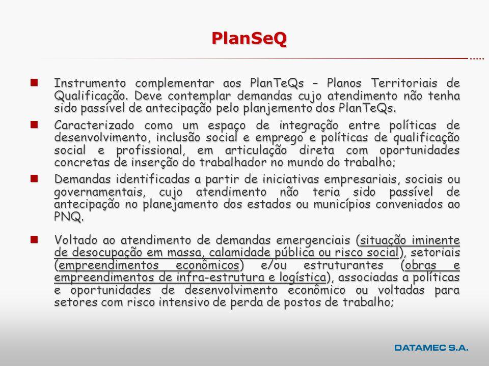 nInstrumento complementar aos PlanTeQs – Planos Territoriais de Qualificação.